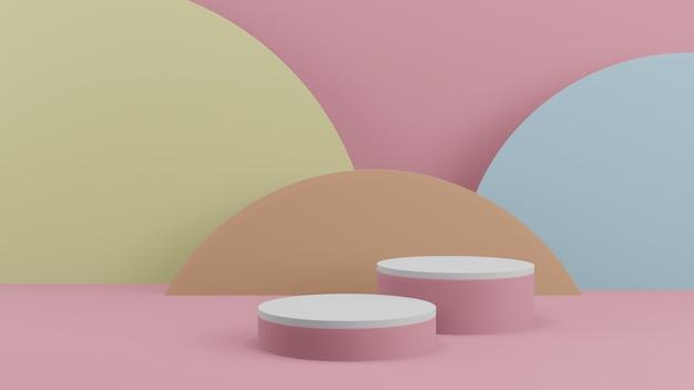 Produits d'arrière-plan 3d scène de podium de couleur pastel minimale avec piédestal beige, rendu 3d