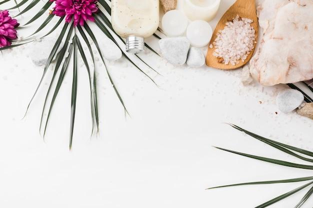 Produits à base de plantes spa isolés sur fond blanc