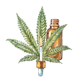 Produits de chanvre à l'huile de cbd. illustration aquarelle sur blanc