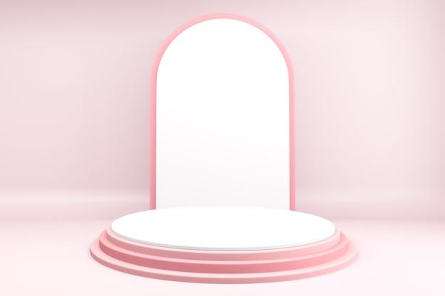 Produits de fond 3d podium de la saint-valentin dans la plate-forme d'amour, conception minimale du podium rose de la saint-valentin