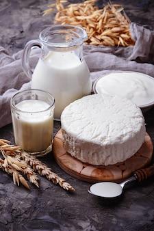Produits laitiers lait, fromage cottage, crème sure et blé. mise au point sélective