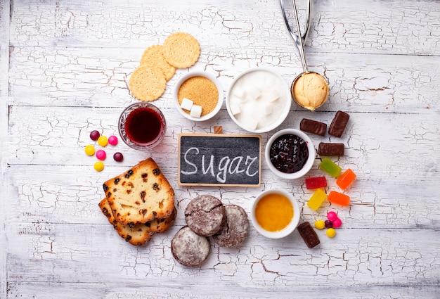 Produits malsains riches en sucre