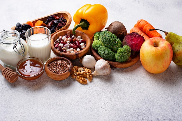 Produits pour un intestin sain. nourriture pour les intestins