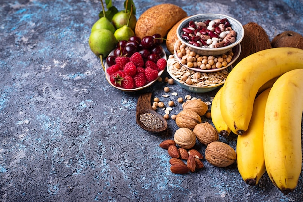 Produits riches en fibres. alimentation saine