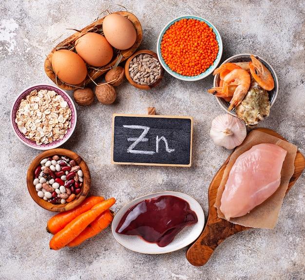 Produits sains contenant du zinc.
