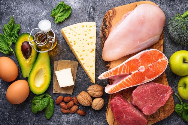 Produits sains à faible teneur en glucides. régime cétogène.