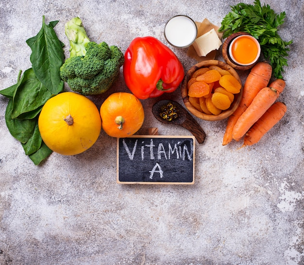 Produits sains riches en vitamine a