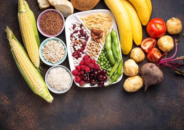 Produits sains sources de glucides.