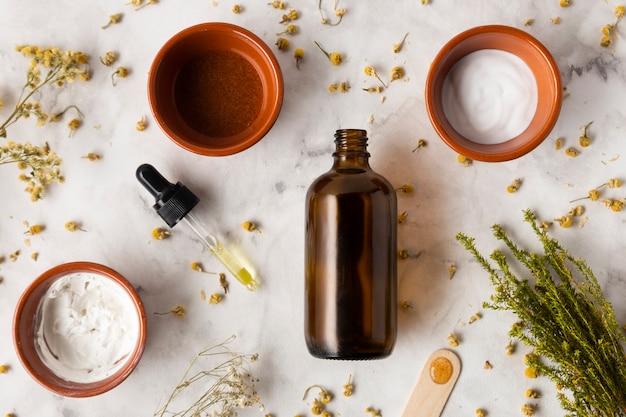 Produits de soins de la peau plats