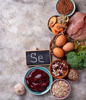 Produits de source de sélénium sains.