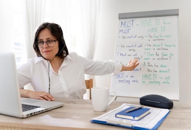 Professeur faisant ses cours d'anglais en ligne