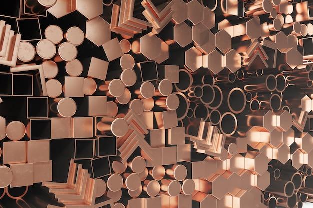 Profils cylindriques en acier cuivre, profils hexagonaux en acier cuivre, profils carrés en acier cuivre. différents produits en acier au cuivre, illustration 3d