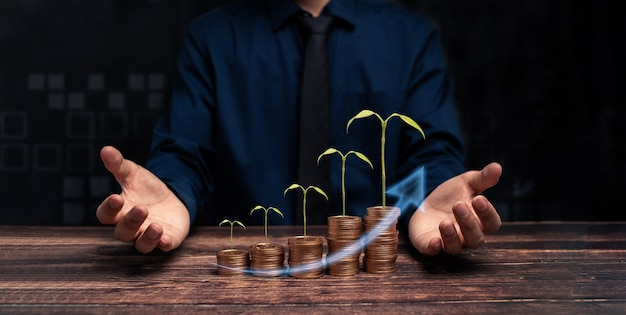 Le progrès de la croissance des entreprises ou le concept de réussite investissent dans l'illustration commerciale