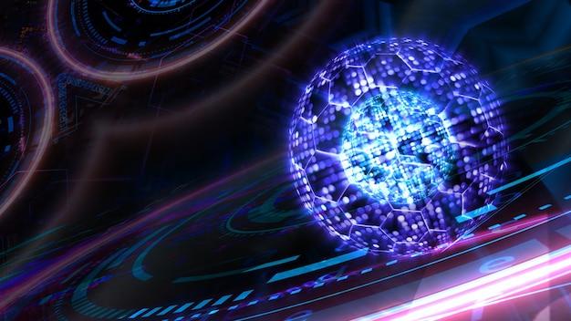 Projecteur abstrait de million de noyaux et technologie informatique futuriste quantique à fil hexagonal avec modèle de matrice numérique et laser