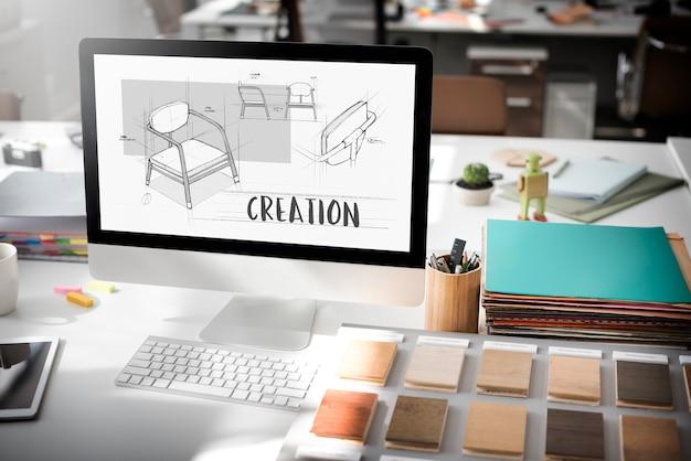 Projet de plan de croquis de meubles de fauteuil
