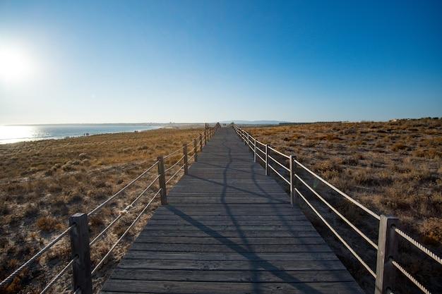 Promenade au bord de la mer au coucher du soleil