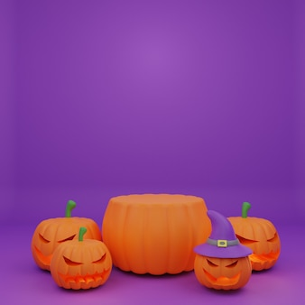Promotion de podium de citrouille d'halloween de rendu 3d avec une bannière de fond de citrouille de caractère effrayant