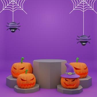 Promotion de podium halloween rendu 3d avec fond d'araignées citrouilles de caractère effrayant