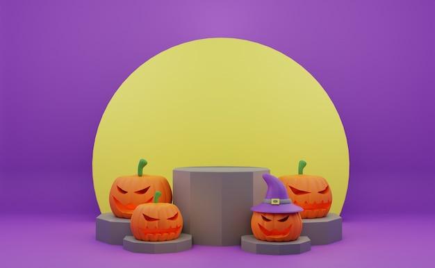 Promotion de podium halloween rendu 3d avec fond de lune citrouille personnage effrayant