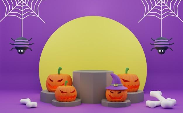 Promotion de podium halloween de rendu 3d avec fond de lune d'os d'araignées de citrouille de caractère effrayant
