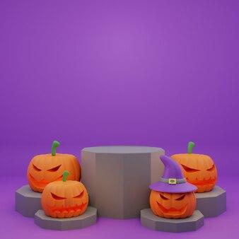 Promotion de podium halloween rendu 3d avec illustration de bannière de fond citrouille personnage effrayant