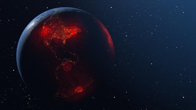 Propagation du virus à travers le monde de la planète terre
