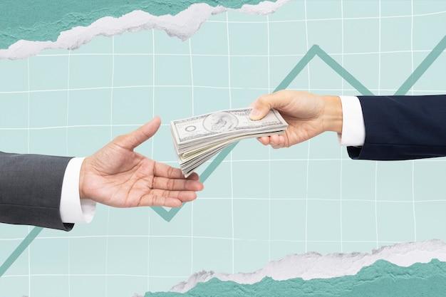 Proposition commerciale achat mains tenant de l'argent