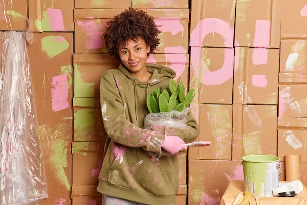 Une propriétaire satisfaite tient un pinceau et un cactus en pot occupé à faire des réparations dans une nouvelle maison vêtue d'un sweat-shirt décontracté, remet à neuf les murs avec une expression joyeuse. rénovation intérieure