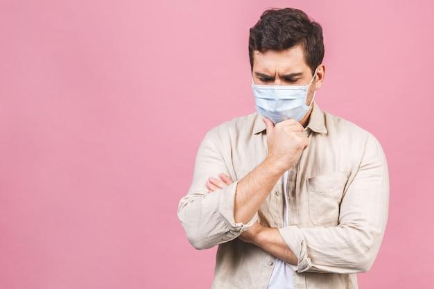 Protection contre les maladies contagieuses, coronavirus. homme portant un masque hygiénique pour prévenir l'infection, les maladies respiratoires aéroportées telles que la grippe, 2019-ncov. isolé.