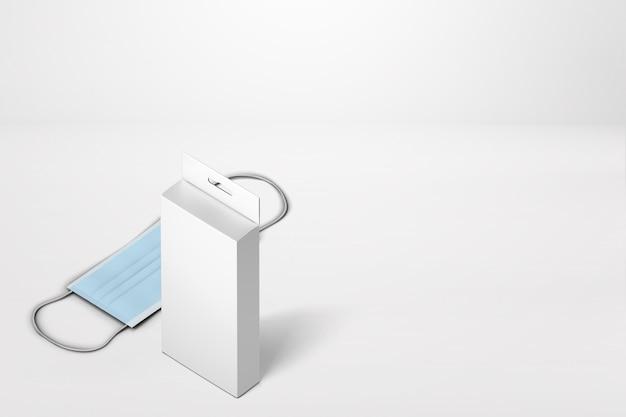Protection contre la poussière de masque médical rendu 3d avec conception de boîte