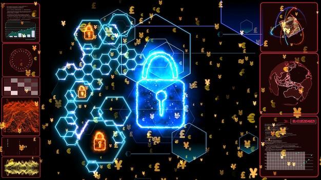 Protection de fil et de verrouillage de circuit hexagonal numérique et polygone avec des particules de médias sociaux et de devises volant sur fond rouge sur moniteur