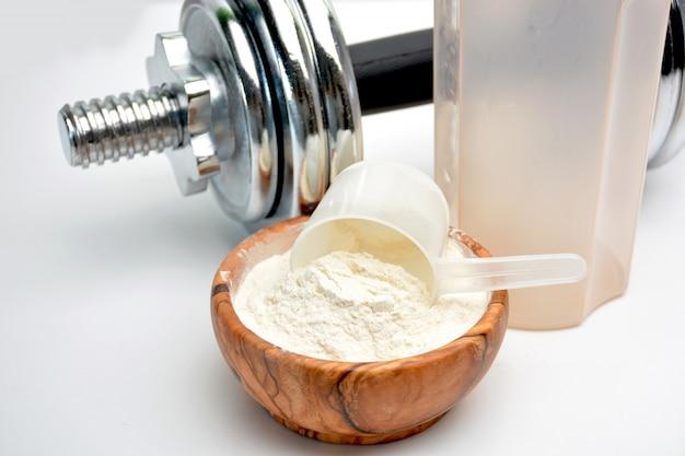Protéine de lactosérum à la vanille avec haltère