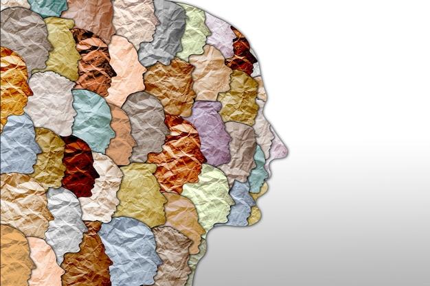 Protestation sociale de la société contre le racisme et la violence. unité sociale multiculturelle de races différentes. silhouettes de personnes en papier froissé. image 3d.