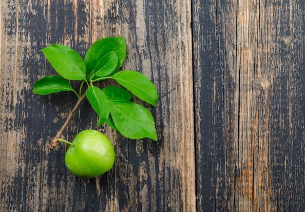 Prune verte avec branche sur mur en bois, vue de dessus.