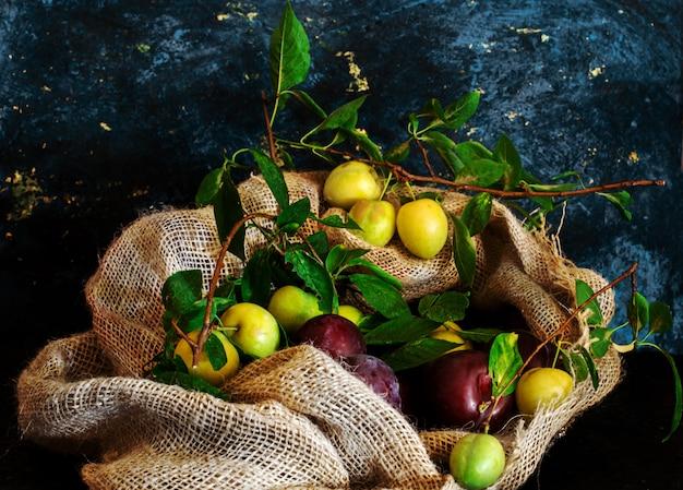 Prunes sauvages à l'intérieur du sac de jute