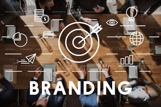 Publicité de marque concept de profil de valeur d'auteur
