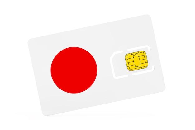 Puce de carte sim de téléphone portable avec le drapeau du japon sur un fond blanc. rendu 3d