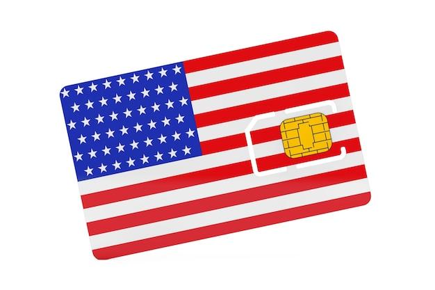 Puce de carte sim de téléphone portable avec le drapeau des etats-unis sur un fond blanc. rendu 3d