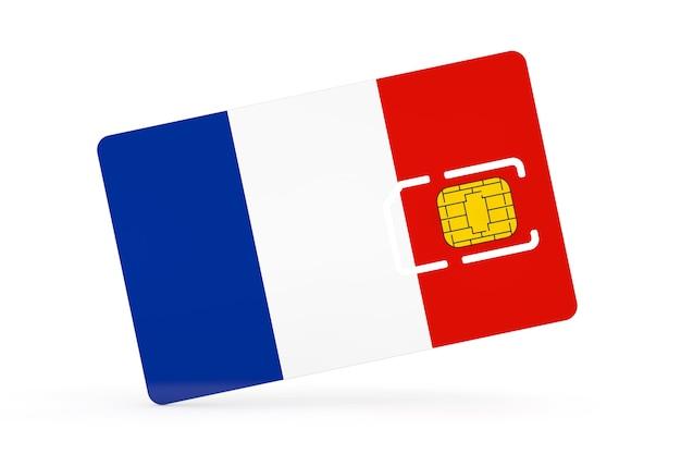 Puce de carte sim de téléphone portable avec le drapeau de la france sur un fond blanc. rendu 3d