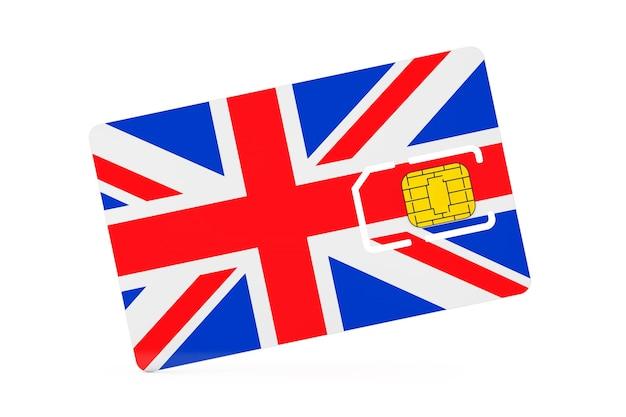 Puce de carte sim de téléphone portable avec le drapeau de la grande-bretagne sur un fond blanc. rendu 3d