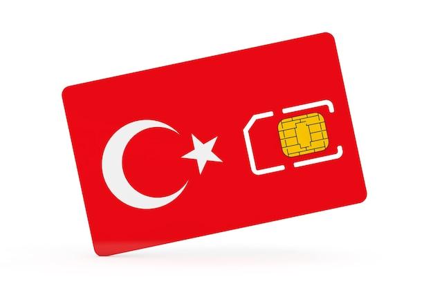 Puce de carte sim de téléphone portable avec le drapeau de la turquie sur un fond blanc. rendu 3d