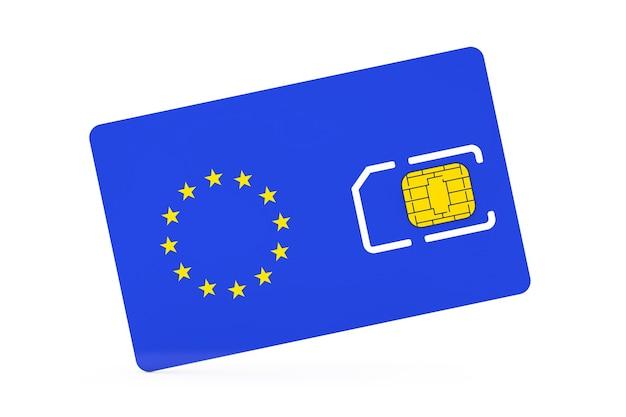 Puce de carte sim de téléphone portable avec le drapeau de l'union européenne sur un fond blanc. rendu 3d