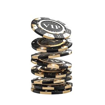Puce de casino 3d doré