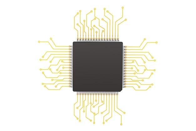 Puce avec circuit sur fond blanc