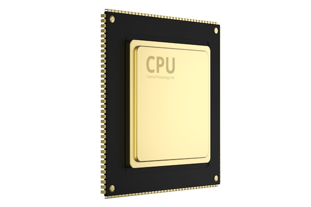 Puce cpu or rendu 3d isolated on white