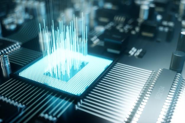 Puce informatique illustration 3d, un processeur sur une carte de circuit imprimé. le concept de transfert de données vers le cloud. processeur central sous forme d'intelligence artificielle. transfert de données