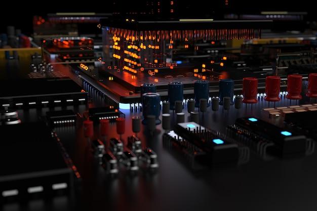 Une puce de processeur sur une carte mère est une carte de circuit imprimé avec des puces, des processeurs et d'autres composants informatiques dans l'abstraction de la ville du futur.