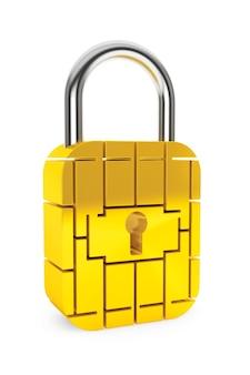 Puce de sécurité de carte de crédit comme cadenas sur fond blanc