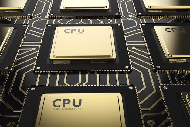 Puces d'unité centrale de traitement d'or de rendu 3d sur le circuit imprimé noir