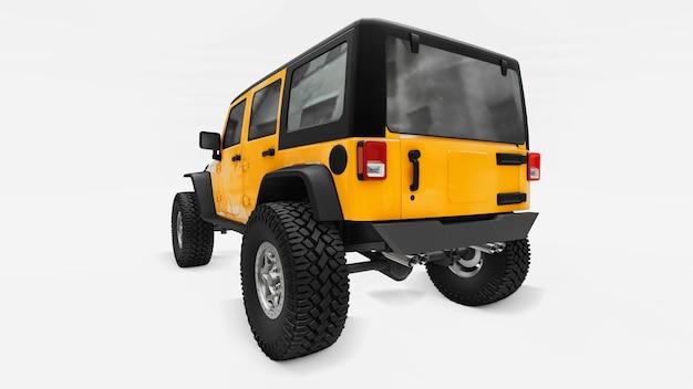 Puissant suv à l'écoute jaune pour les expéditions dans les montagnes, les marécages, le désert et tout terrain accidenté. grandes roues, suspension de levage pour les obstacles escarpés. rendu 3d.